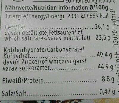 Chocolate blanco mango coco - Voedingswaarden