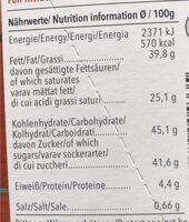 Feine Bitter Caramel Mallorca Flor de Sal - Nährwertangaben - de