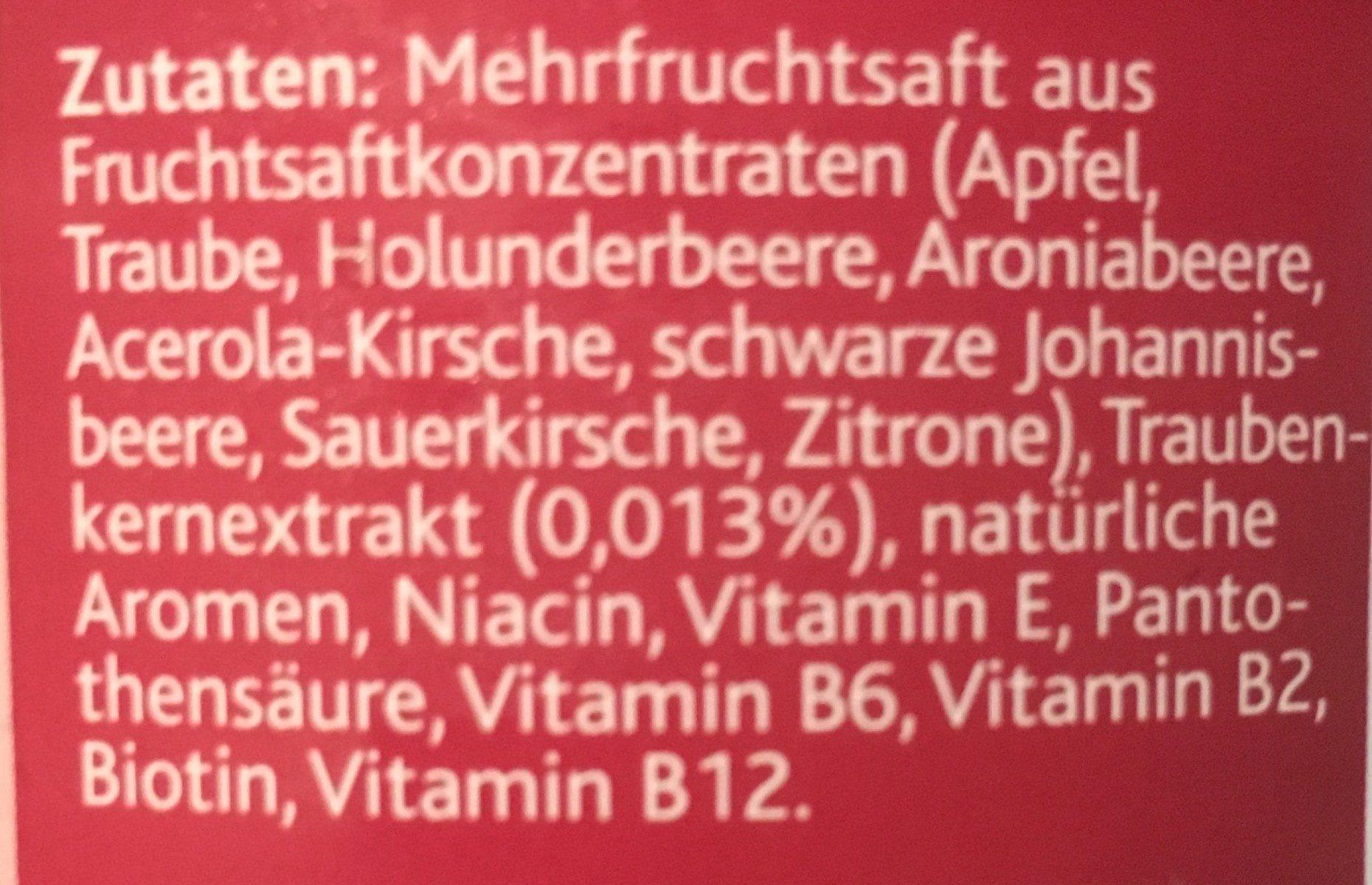 Hohes C, Roter Multivitamin - Ingrediënten