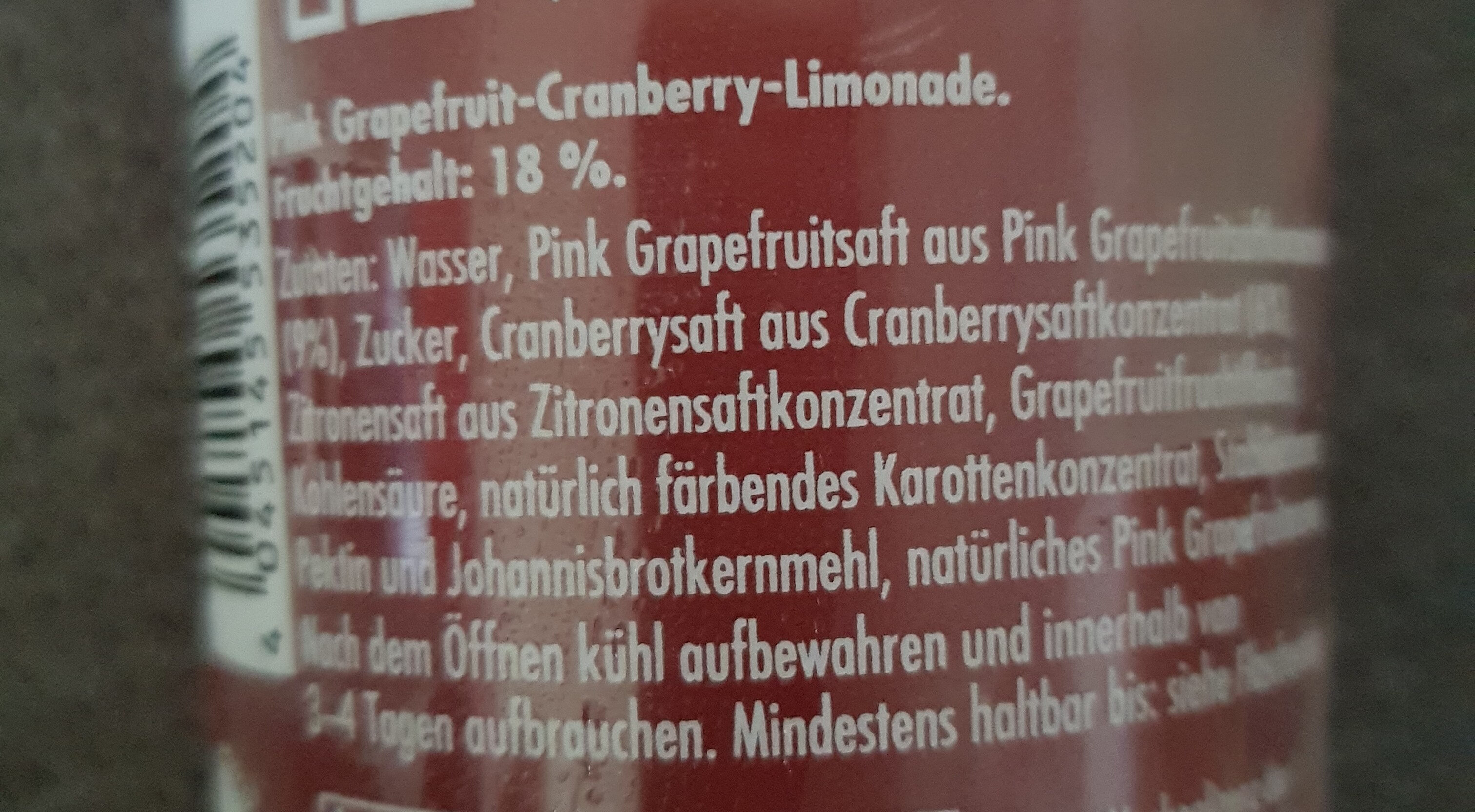 Die Limo, Pink Grapefruit + Cranberry - Ingredienti - de