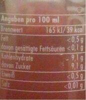 Die Limo, Pink Grapefruit + Cranberry - Valori nutrizionali - de