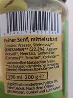 Feiner Senf Mittelscharf - Inhaltsstoffe - de