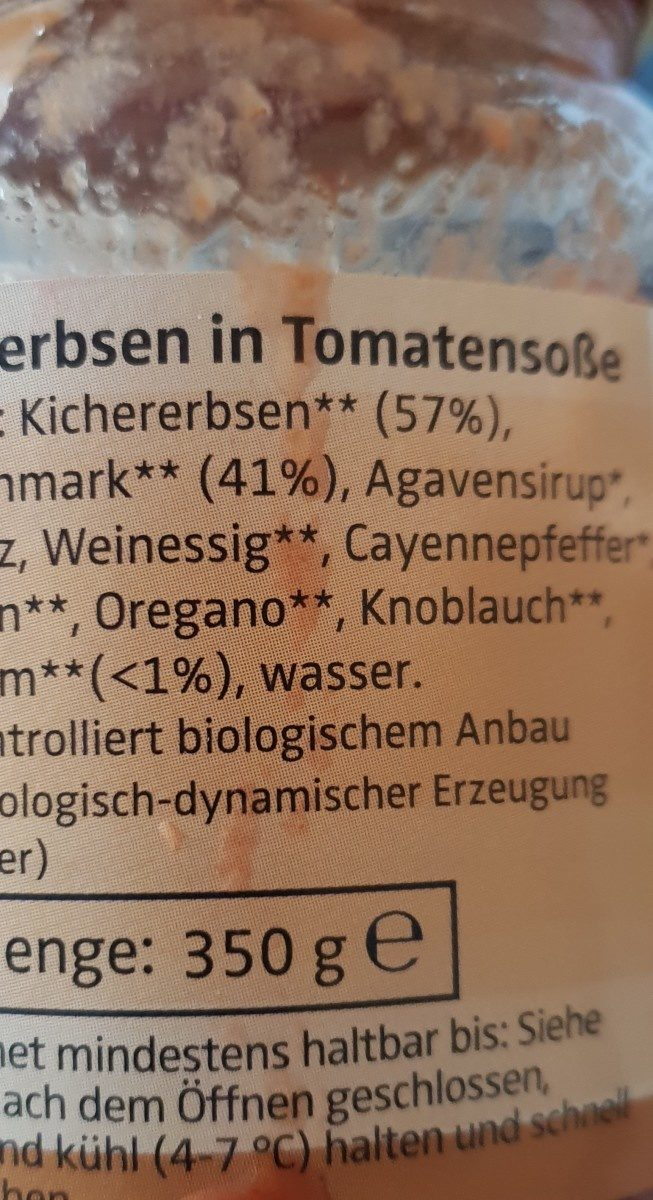 Demeter Campo Verde Kichererbsen In Tomatensoße - Ingredienti - fr