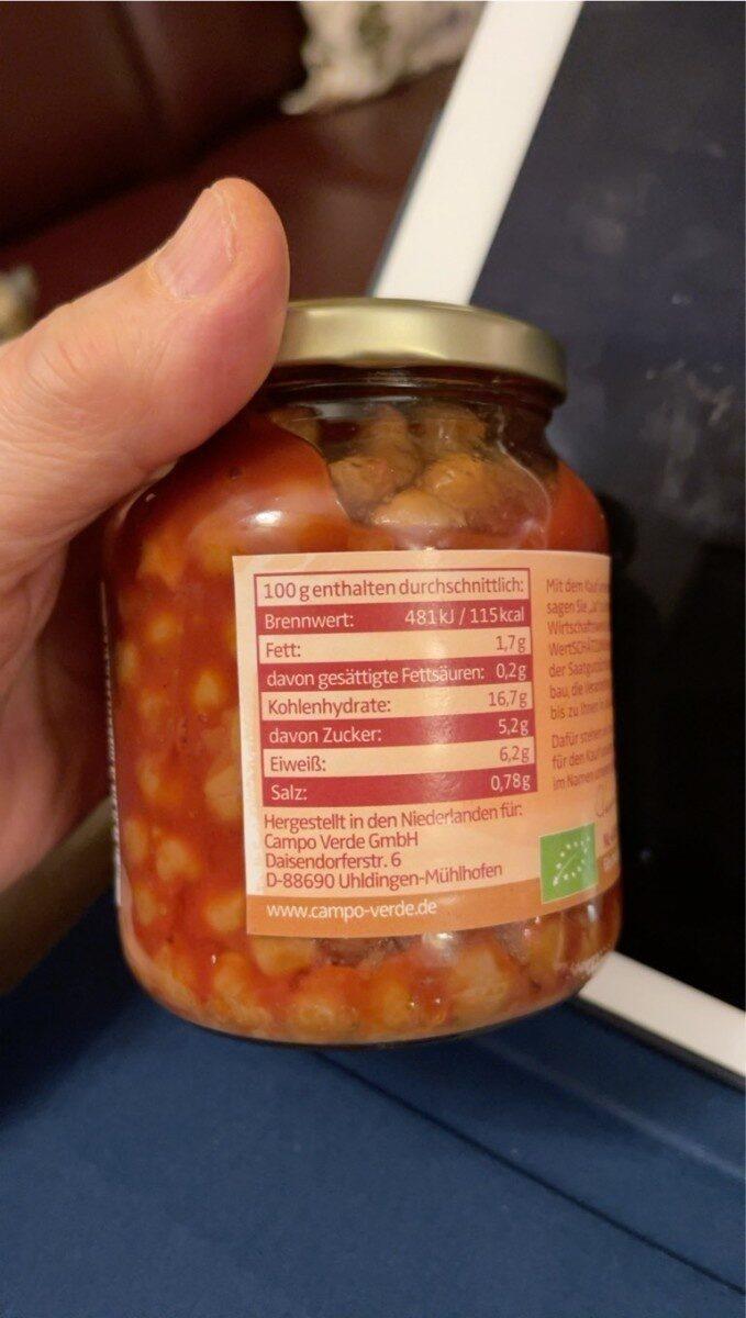 Demeter Campo Verde Kichererbsen In Tomatensoße - Valori nutrizionali - fr