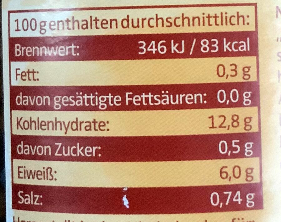 Bio Linsen - Nutrition facts - de