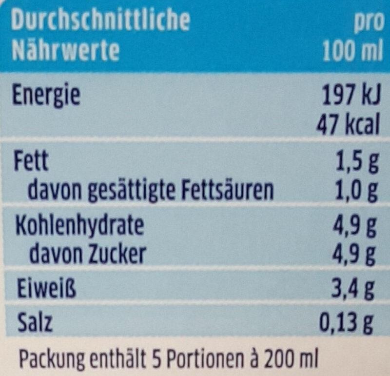 Die Haltbare Milch 1,5% Fett - Nährwertangaben - de