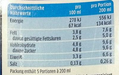 Die haltbare Milch 3,8 % Fett - Nährwertangaben - de