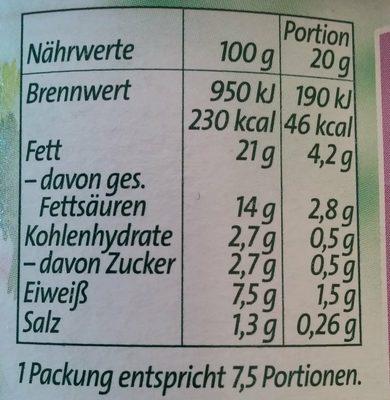 Bresso Feine Kräuter - Informations nutritionnelles