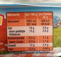Milkana mit Cheddar & Allgäuer Milch - Nährwertangaben - en