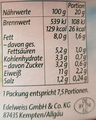 Légère feine Kräuter 8% fett - Nutrition facts