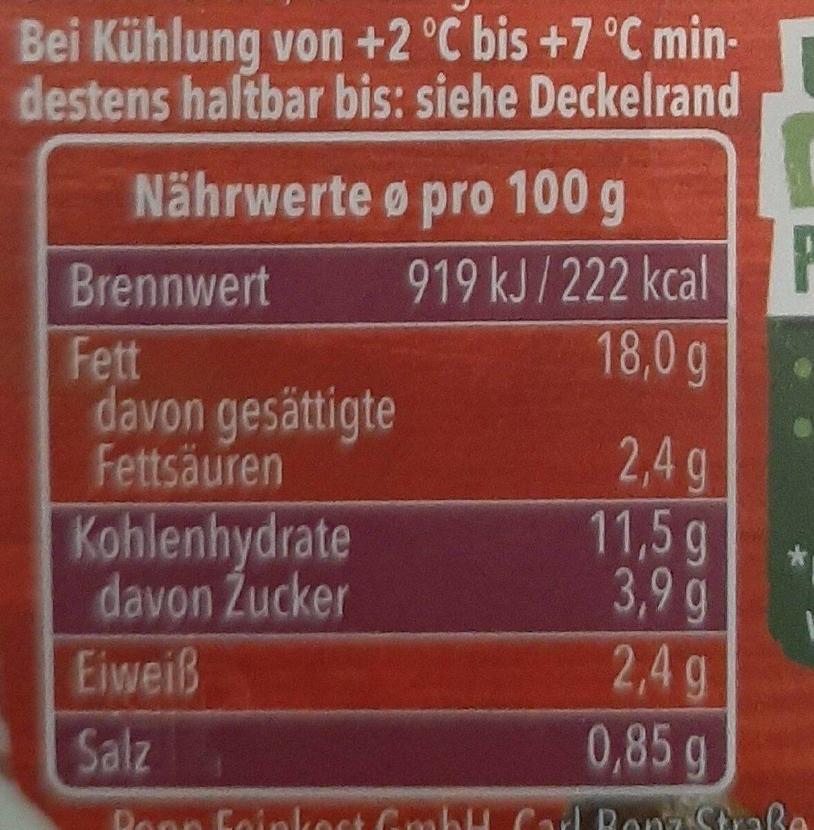 Kartoffelsalat sächsische Art - Nutrition facts - de