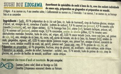 Edogawa, Sushi Box Matsu, (4 nigri saumo- 4 nigris crevette-2 california roll- 1 futomaki) - Ingredients