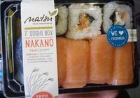 Nakano, Sushi Box Matsu, 4 Nigrinis saumon - 3 Californias (1 futo-salade, 1 saumon-salade: 1 saumon fromage) - Product - fr