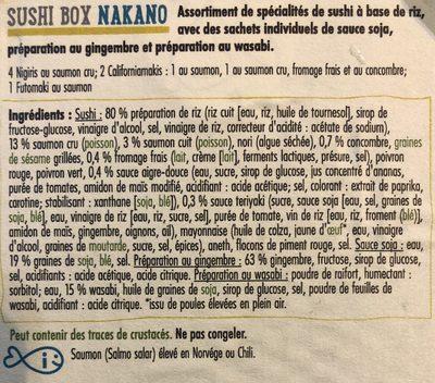 Nakano, Sushi Box Matsu, 4 Nigrinis saumon - 3 Californias (1 futo-salade, 1 saumon-salade: 1 saumon fromage) - Ingrediënten - fr