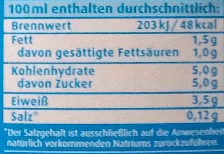 haltbare fettarme Milch 1,5% Fett - Nährwertangaben - de