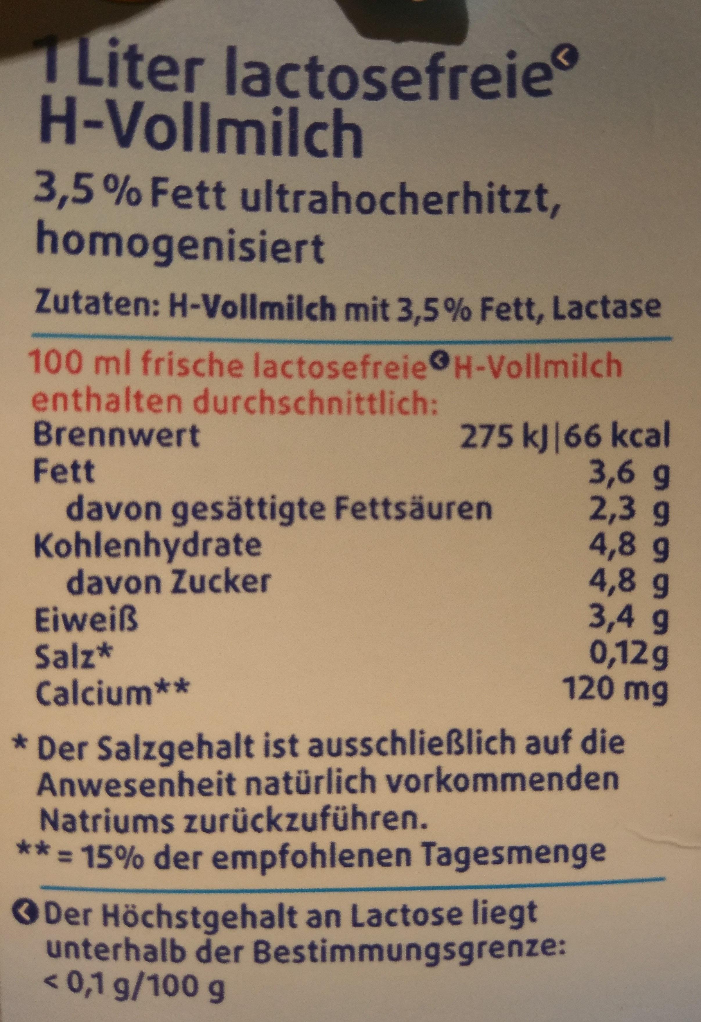 H-Vollmilch 3,5% Fett - Voedingswaarden - de