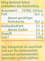 BIO Sahne - Nährwertangaben - de