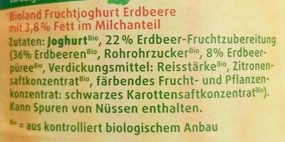 BIO-Fruchtjoghurt Erdbeere - Zutaten