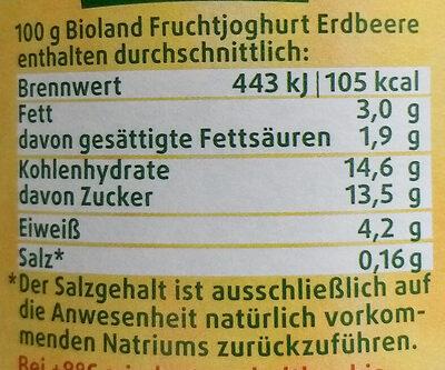 BIO-Fruchtjoghurt Erdbeere - Nährwertangaben - de