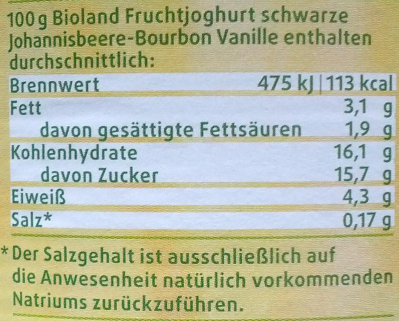 Bio Fruchtjoghurt Schwarze Johannisbeere - Bourbon Vanille - Nährwertangaben - de