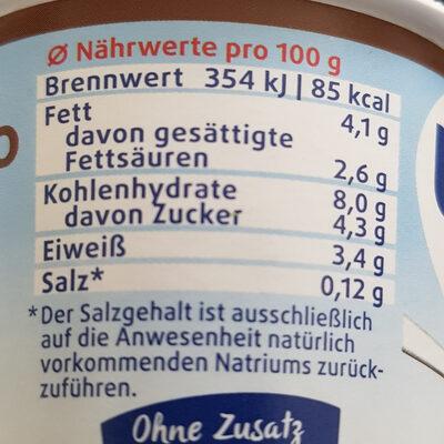 Schoko pudding lactosefrei - Nährwertangaben - de