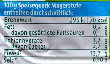 Magerquark - Informations nutritionnelles - de
