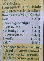 Bio Speisequark Halbfettstufe - Nährwertangaben - de