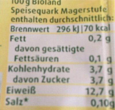Speisequark - Nährwertangaben - de
