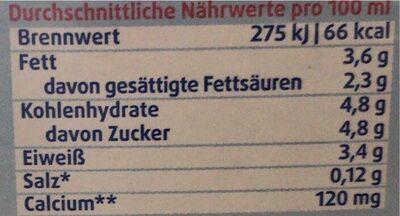 LAC lactosefrei frische Vollmilch 3,5% - Nährwertangaben - de