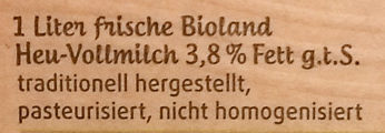 frische Heumilch 3,8% Fett - Ingredients - de