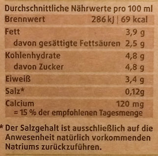 frische Heumilch 3,8% Fett - Nutrition facts - de