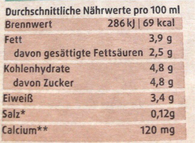 Heumilch bio 3,8% - Nährwertangaben - de