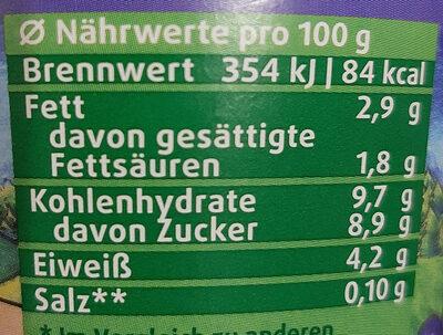 Schwarzwaldmilch  Kijo Heidelbeere - Nährwertangaben - de