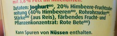 Bio Fruchtjoghurt Himbeere - Ingrédients - de