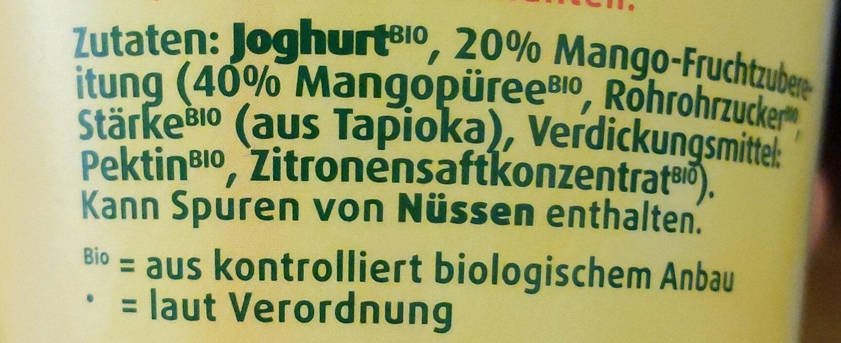 Bio Fruchtjoghurt Mango - Ingrédients - fr