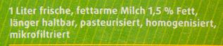 Frische fettarme Weidemilch - Ingrediënten - de