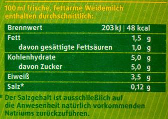 Frische fettarme Weidemilch - Voedingswaarden - de