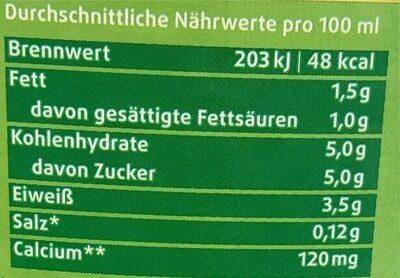 Frische, fettarme Weidemilch 1,5% Fett - Nährwertangaben - de