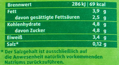 Frische Weidemilch - Nährwertangaben - de
