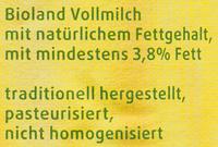 BIO Frische Vollmilch - Zutaten - de