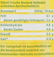 BIO Frische Vollmilch - Nährwertangaben - de