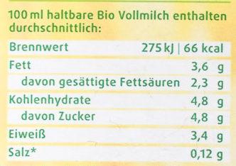 Bio Haltbare Vollmilch - Nährwertangaben - de