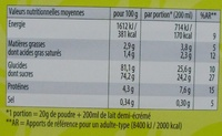 Choco Quick - Informations nutritionnelles