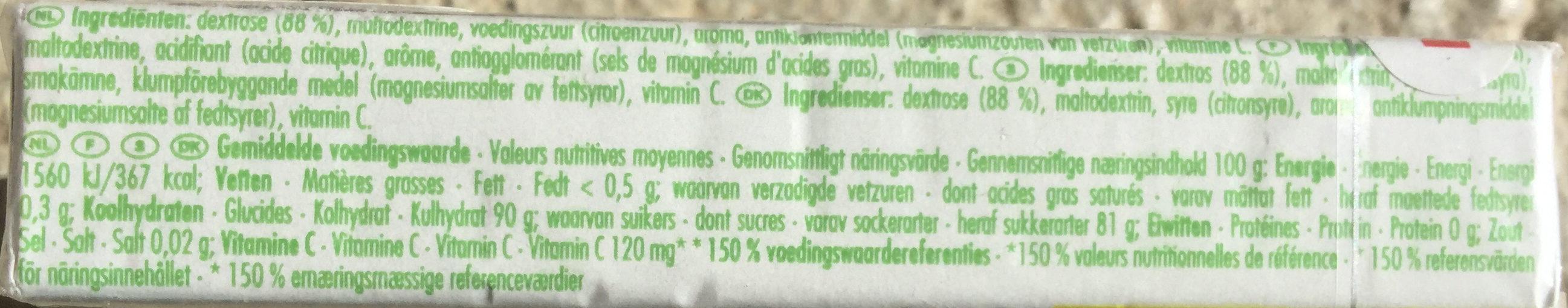 DE stick citroen/citron + vit C - Voedingswaarden