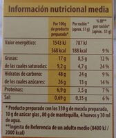 Preparado para bizcocho - Nutrition facts - es