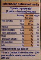 Preparado para Gelatina sabor fresa - Información nutricional