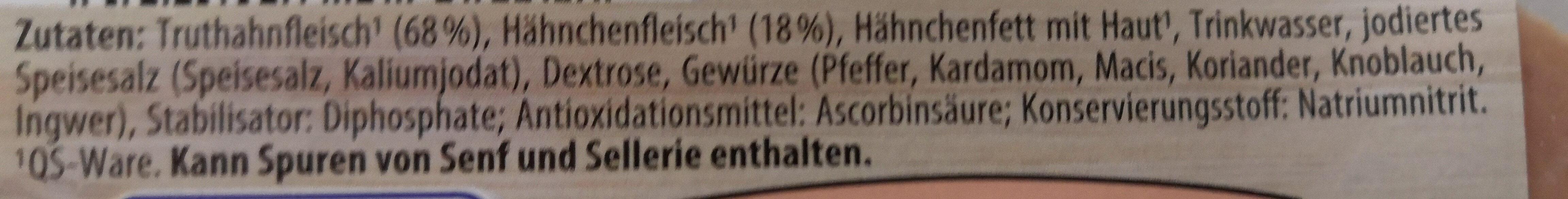 Delikatess Schinkenwurst aus Geflügelfleisch - Ingrédients - de