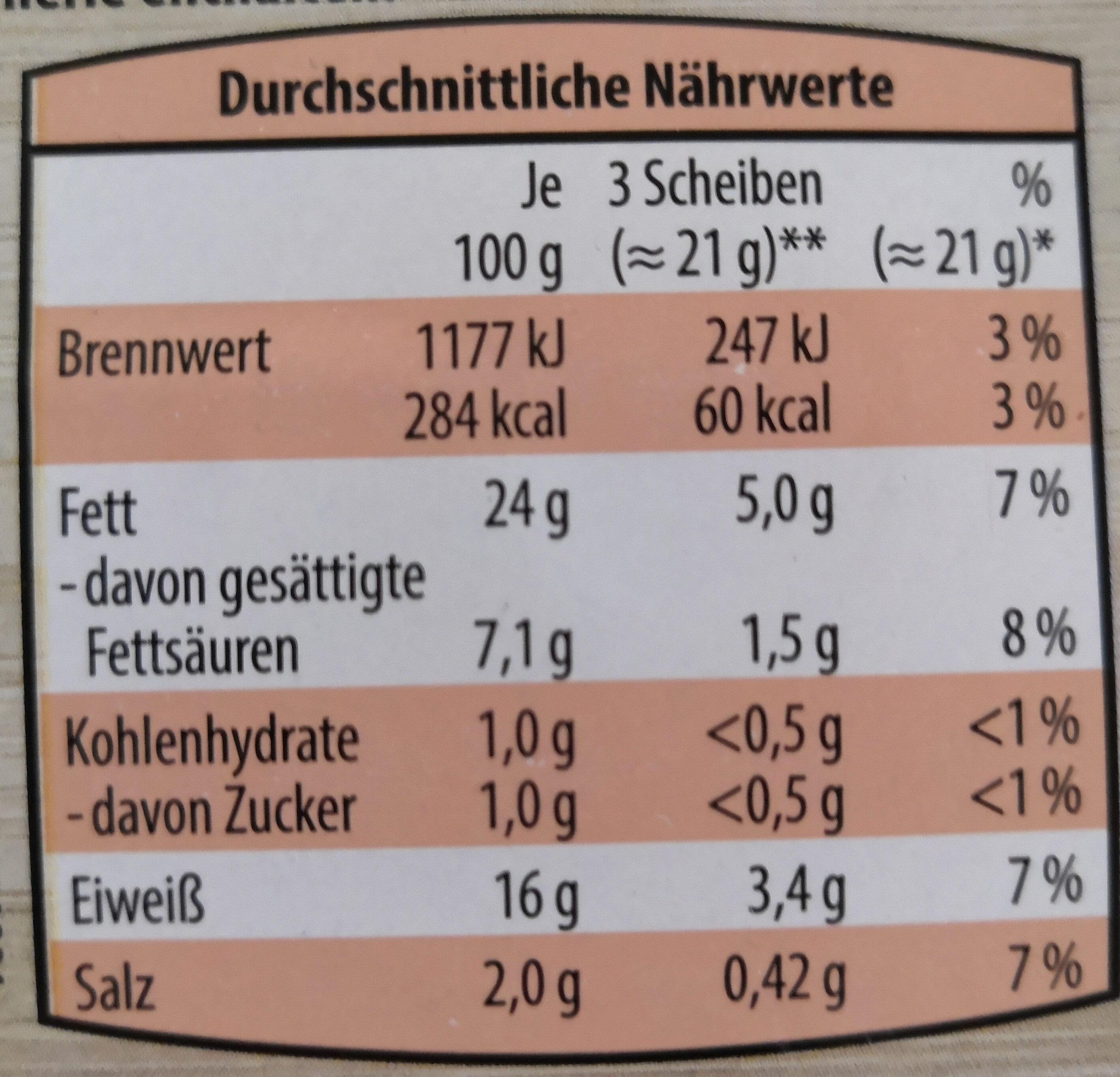 Delikatess Schinkenwurst aus Geflügelfleisch - Informations nutritionnelles - de