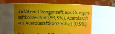 Hohes C Milde Orange , Mit Zartem Fruchtfleisch Saft - Ingrediënten - de