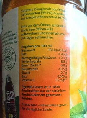Hohes C Milde Orange , Mit Zartem Fruchtfleisch Saft - Voedingswaarden - de